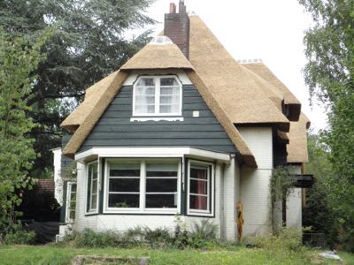 Huisje met rieten dak